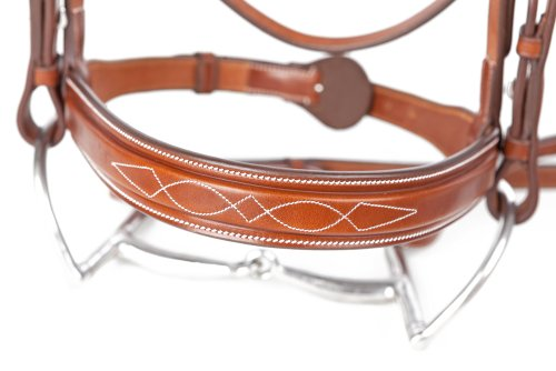 - Huntley Equestrian Sedgwick Leather Fancy Stitched Square Raised Noseband (Noseband Only) (Medium Pony 1