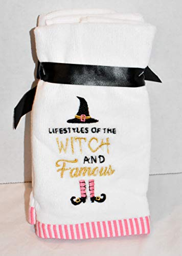New 2pc Set Embroidered Witches HAT and Legs with Saying Lifestyles of The Witch and Famous Finger TIP Towels Kitchen OR Bathroom Hand Towel]()