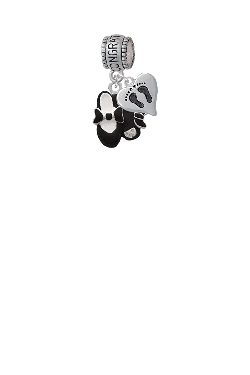 Black Enamel Tap Shoes Congratulations Charm Hanger with Mini Baby Feet Heart