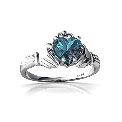 14kt White Gold Lab Alexandrite and Diamond 6mm Heart Claddagh Ring - Size 7