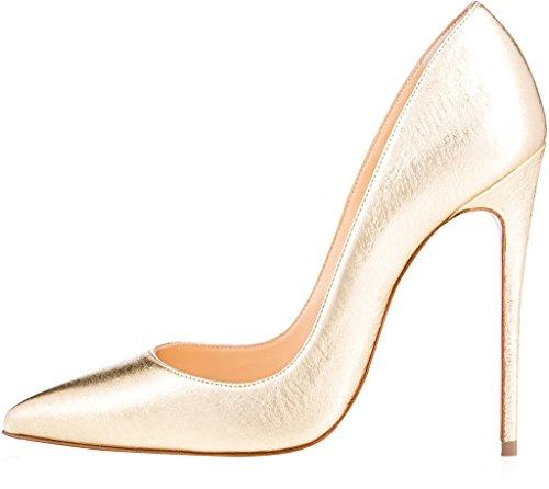 Spitzschuh Cahen 12CM Calaier Stiletto Damen Gold Pumps Slip on Zq6ywEcTy
