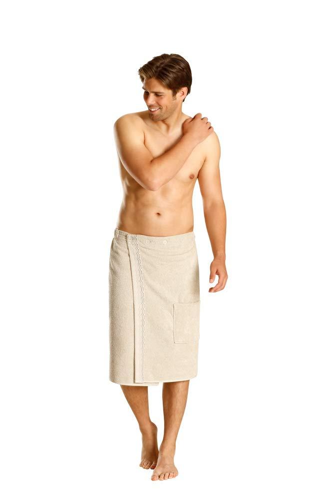 100/% Cotone Colore Beige Beige e Rosso Blu BETZ Kilt da Sauna Maschile con Bottoni e Tasca Colore: Bianco