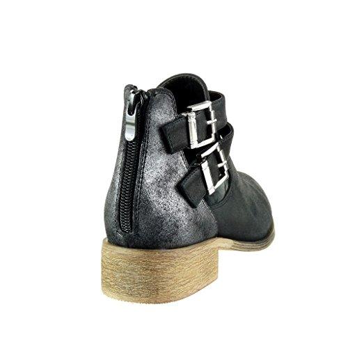 cm Shiny Boots Knoten Booty Material Damenmode 3 Schwarz Camouflage Cavalier Knoten Bi Schuhe Ankle Angkorly Blockabsatz qRg68x