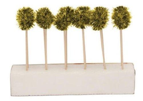 Creative Converting Glitz Gold Pom Pom Cocktail Picks, 12 Sticks Per Package