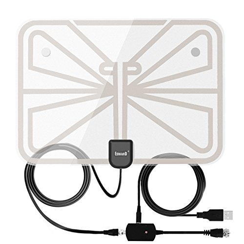 Antenna Indoor Amplified TV Antenna 50-100 Mile Range with Creative Adjustable Amplifier Booster, USB Power Supply Ultra Thin-Super Soft & - Good Mile