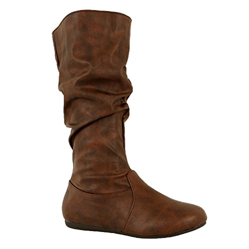 Mid Calf Brown Winter Shoes (Guilty Shoes Womens Mid Calf Comfortable Slouchy Solid Color Flat Heel Boots Boots, Brown Pu, 10 (B) M US)