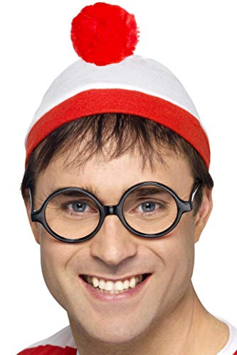Mens Wheres Wally Waldo Official Licensed Hat Glasses TV Film World Book Day Week Fancy Dress Costume Outfit (Fancy Dress Tv And Film Costumes)