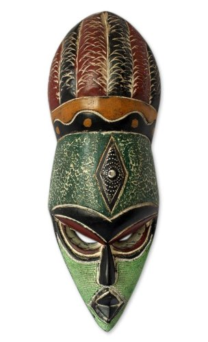 NOVICA Decorative Nigerian Large African Rubber Wood Mask, Green 'God's Gift'