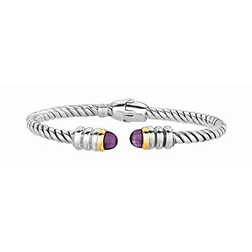 Argent 925/1000-Or 18 carats avec Ox. Bracelet manchette torsadé-JewelryWeb