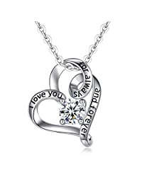 EUDORA Heart Necklace I Love You for Always and Forever CZ S925 Sterling Silver Necklace, I Love You Three Thousand I Love You to the Moon and Back Gifts for Women, 18""