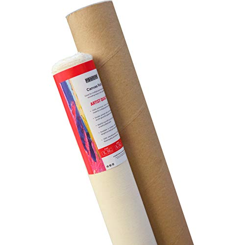 Pragati Systems® 7 Oz. Medium Grain Primed Cotton Canvas Roll for Oil & Acrylic Painting, White (16 Inch x 5 Meter)