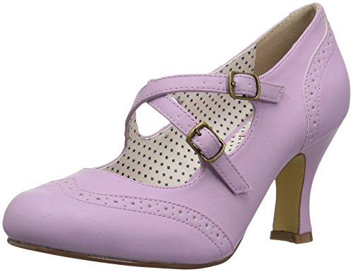Pin Up Couture Women's FLAPPER-35 Pump, Lavender Faux Leather, 10 M US