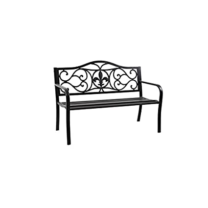 Merveilleux Garden Treasures 23.5 In W X 50.4 In L Black Steel Patio Bench