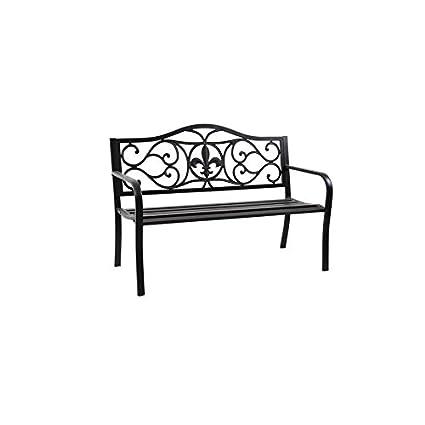 Delicieux Garden Treasures 23.5 In W X 50.4 In L Black Steel Patio Bench