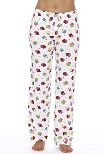 Just Love 100% Cotton Jersey Knit Fun Print Women Pajama Pants Sleepwear, Cupcake White, 2X Plus