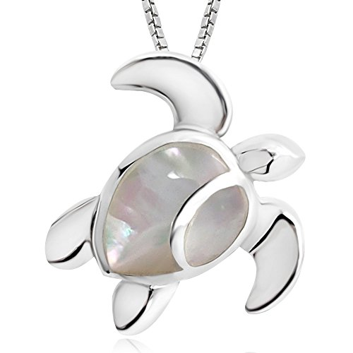 Mother Of Pearl Turtle Pendant (925 Sterling Silver Mother of Pearl Shell Sea Turtle 18