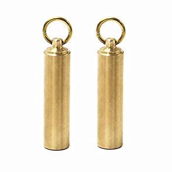 "douper Large Size 100% SOLID BRASS Emergency Pill Fob CNC Cutting Outdoor Airtight Waterproof Matches Dry Box 3/5"" Diameter Pack of 2"