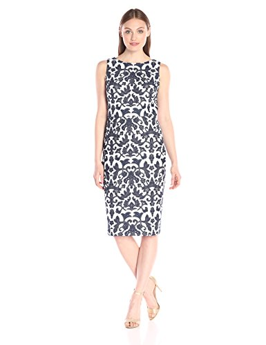 Badgley Navy Mischka womens Embroidered Sheath White 07r0zn