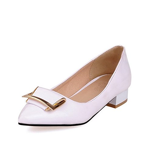 AmoonyFashion Womens Pointed Closed Toe Low Heels Pull On Solid Pumps-Shoes White 1disW2xwi