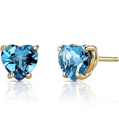 14K Yellow Gold Heart Shape 1.75 Carats Swiss Blue Topaz Stud Earrings