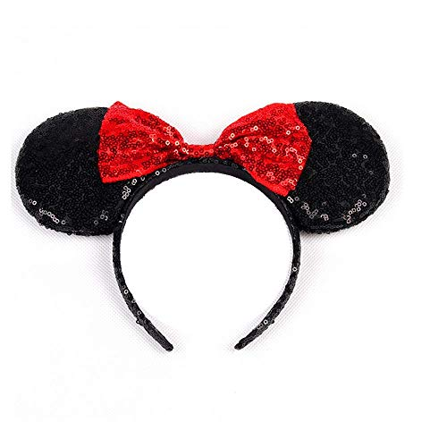 Mickey Mouse Minnie Mouse Sequin Ears Headbands Butterfly Glitter Hairband (Shiny black red)
