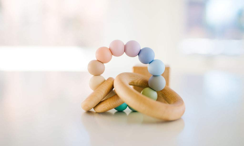Seaglass Saturn Ring Baby Teether + Rattle