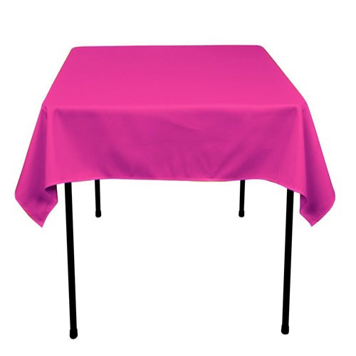 Square Polyester Tablecloth 54x54 Inches (Multiple Colors Available) By Runner Linens Factory (Hot Pink) by Runner Linens Factory