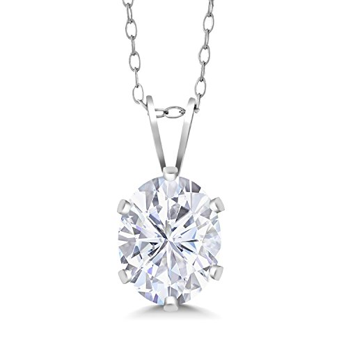 - 925 Sterling Silver Pendant Forever Classic Oval 0.90ct (DEW) Created Moissanite by Charles & Colvard