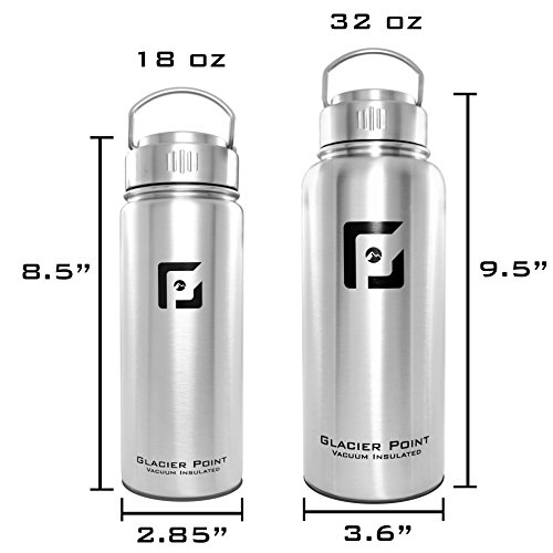 f9424065a4 Amazon.com : Glacier Point Vacuum Insulated Stainless Steel Water Bottle.  Zero Plastic, Wide Mouth, Double Walled Construction, Zero Condensation!