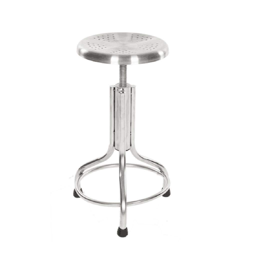 NUBAO Computer Chair, Stainless Steel Stool, Study Chair, Spiral Lift Bar Chair Laboratory Factory Workshop Assembly Line Hospital Nurse Stool 48-58cm (Color : Hollow Chair)
