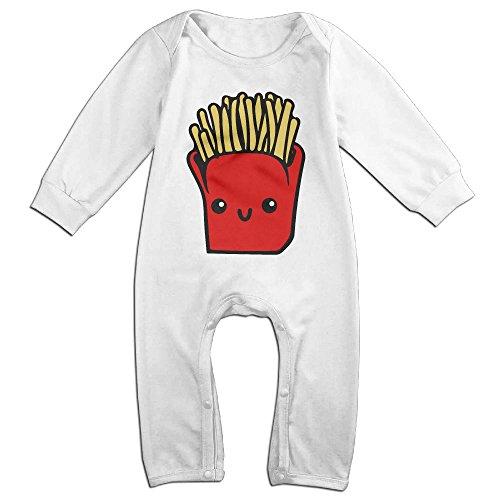 Baby Infant Romper French Fries Long Sleeve Jumpsuit Costume White 24 (Toddler French Fry Costume)
