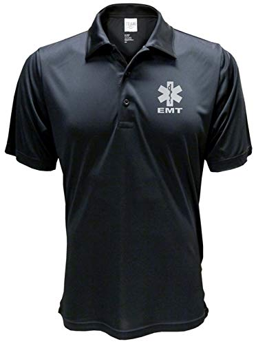 - Smart People Clothing EMT Polo Reflective Design, Performance Polo w/Moisture Wicking Technology Black