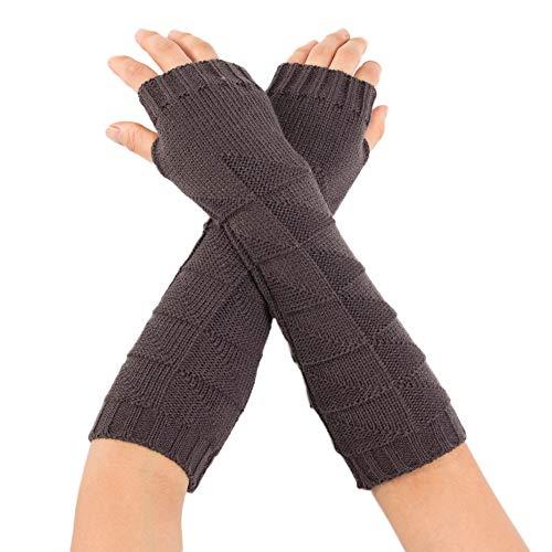 - WensLTD Women's Fingerless Arm Warmers Gloves Knit Thumb Hole Gloves Mittens (Dark Gray)