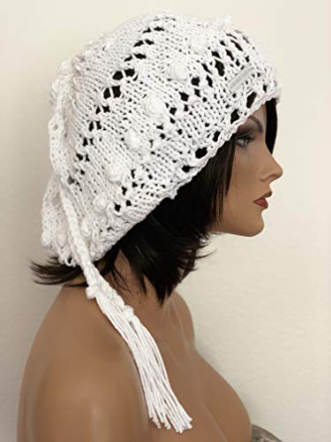 Hand Knits 2 Love Cotton White Slouch Beanie Hat Beret Tam Designer Original Summer Fashion Ties Wedding Women Church Bride Lace ()