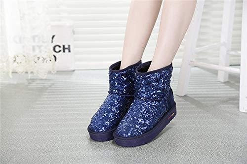 Algodon Azul Algodon para de Fondo Casual Mujer Invierno Tubo Impermeables Cuero SYW Lentejuelas de Zapatos de Corto Grueso de Nieve Zapatos Botas de twxBq6H5