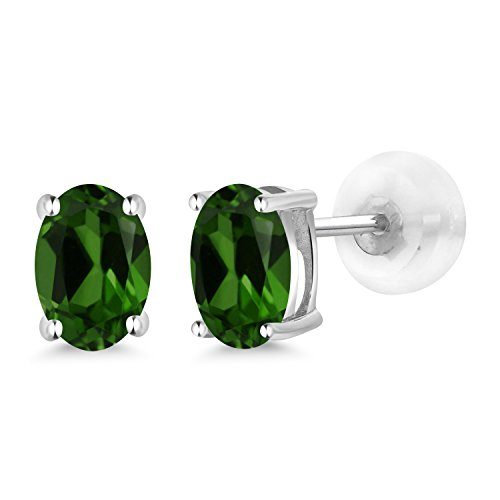 Gem Stone King 0.90 Ct Oval 6x4mm Green Chrome Diopside 14K White Gold Stud Earrings