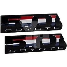 Ford 302 V8 5.0L Coyote Black Emblems - Pair