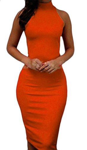 Jaycargogo Sans Manches Dos Nu Féminin Soild Bodycon Midi Robe Crayon De L'orange