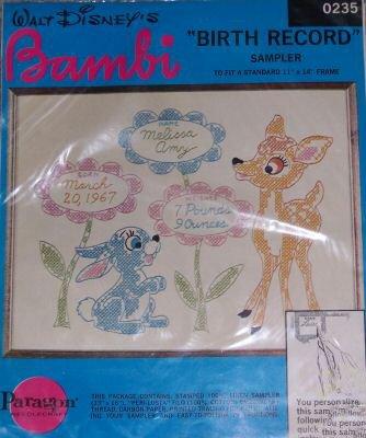 Disney Birth Sampler (Walt Disney's Bambi Birth Record Sampler Paragon Needlecraft 0235)