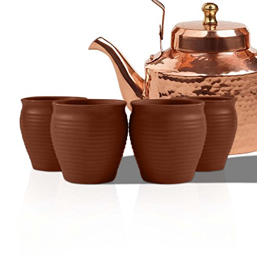 MC SID RAZZ Earthen Glazed Terracotta Chai (Tea) Handcrafted Studio Pottery Brown Kulhad Kullad/Kullar/Cups Set of 4 Brown