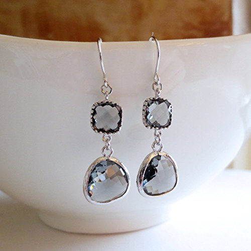 Charcoal Grey and Silver Drop Earrings,  - Jewel Charcoal Shopping Results