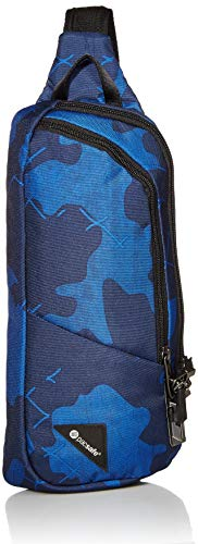 Pacsafe Vibe 150-2.2L Liter Anti Theft Crossbody Pack-Lockable Zippers, RFID Safe Pocket and Cut Resistant Fabric, Blue Camo