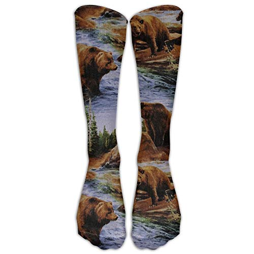 (PIHJE Socks Long 50cm NEW Brown Grizzly Bears Wildlife Compression Socks For Women's Men's Classics Knee High Socks Sport Long Sock One Size)