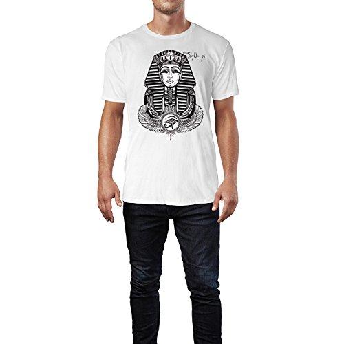 SINUS ART ® Geflügelter Ankh im Tattoo Stil Herren T-Shirts in Weiss Fun Shirt mit tollen Aufdruck
