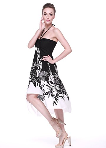 Mariée Pour Hawaïenne Hangover Hawaii Femme De Edge Black Noir Floral Robe Indri En xBatBwqnXI