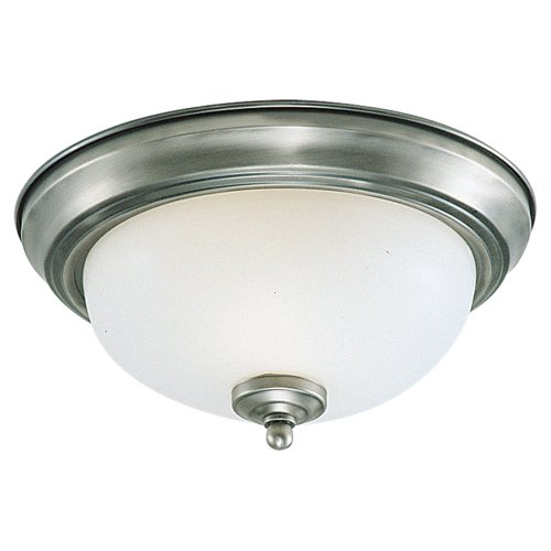 (Sea Gull Lighting 77065-962 3-Light Stockholm Close-To-Ceiling Fixture, Satin Etched Glass Shade and Brushed Nickel)