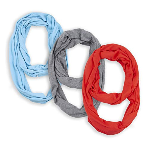 - Infinity & Soft Scarf with Hidden Zipper Pocket Bundle Set Travel Accessories for Women Girls Ladies (red-blue-gray)