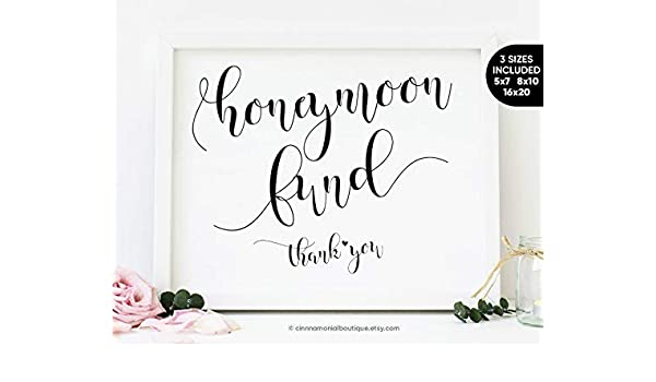 graphic regarding Cards and Gifts Sign Printable identified as : Arvier Honeymoon Fund Printable Indication Marriage ceremony