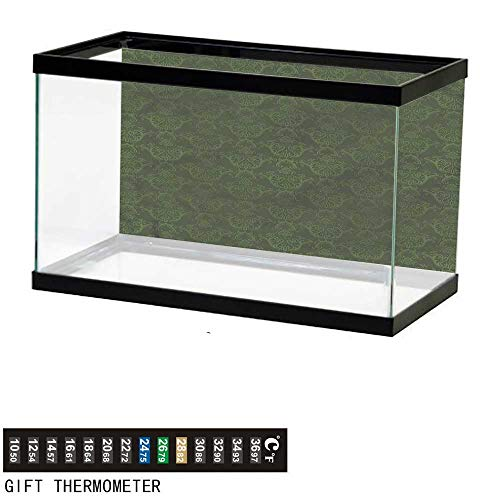 bybyhome Fish Tank Backdrop Hunter Green,Swirled Classic Petals,Aquarium Background,24