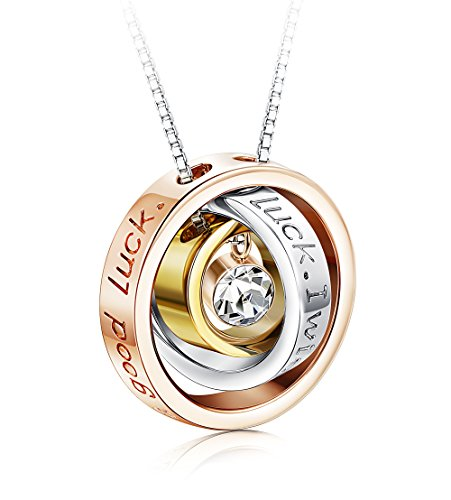 Sllaiss Swarovski Crystal Necklace for Women Rose Gold Ring Pendant Jewelry Gift for Friend Family Sweetheart (Ring Pendant Necklace) (Gold Swarovski Crystal Ring)